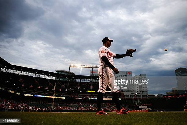 Jonathan Schoop of the Baltimore Orioles warms up before the start of the Orioles and Texas Rangers game at Oriole Park at Camden Yards on July 3...