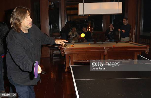 Jonathan Schwartz playing ping pong at the GOOGLE HOME Super Crispy Films celebrate 'Sidney Hall' at the home of Barry Amy Baker on January 24 2017...