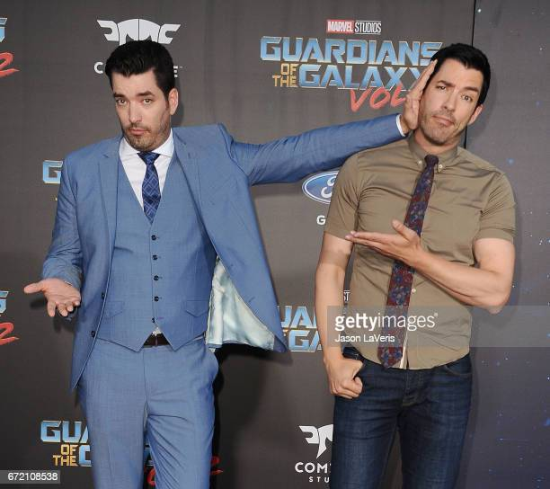 Jonathan Scott and Drew Scott attend the premiere of 'Guardians of the Galaxy Vol 2' at Dolby Theatre on April 19 2017 in Hollywood California