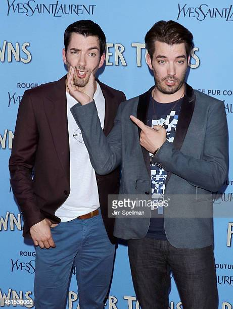 Jonathan Scott and Drew Scott attends the 'Paper Towns' New York premiere at AMC Loews Lincoln Square on July 21 2015 in New York City