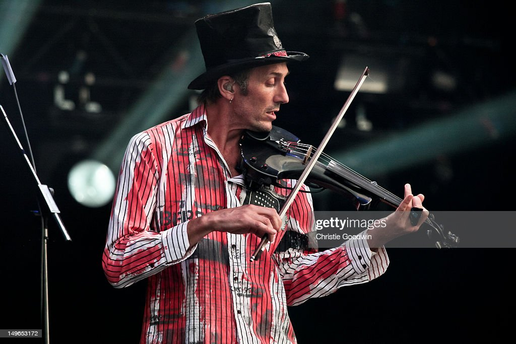 Jonathan Sevink of The Levellers performs on stage during BT London Live at Hyde Park on August 1, 2012 in London, United Kingdom.