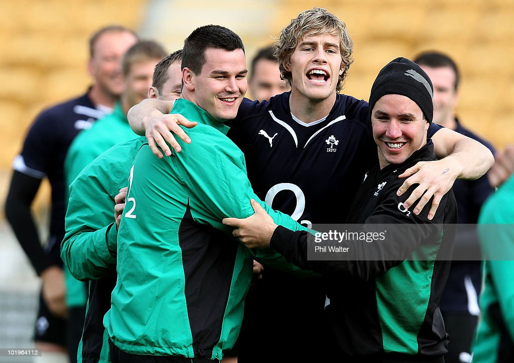 Jonathan Sexton, Andrew Trimble and Paddy Wallace of Ireland share a laugh during the Ireland Captain's Run at Yarrow Stadium on June 11, 2010 in New Plymouth, New Zealand.