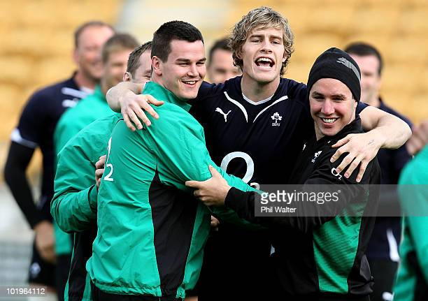 Jonathan Sexton Andrew Trimble and Paddy Wallace of Ireland share a laugh during the Ireland Captain's Run at Yarrow Stadium on June 11 2010 in New...