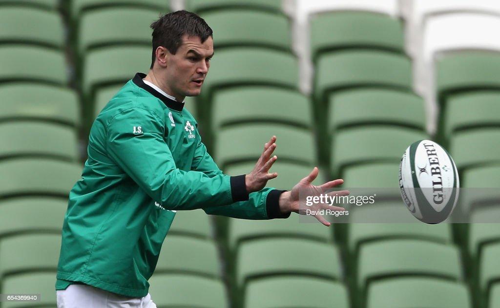 Jonathan Sexton catches the ball during the Ireland captain's run at the Aviva Stadium on March 17, 2017 in Dublin, Ireland.