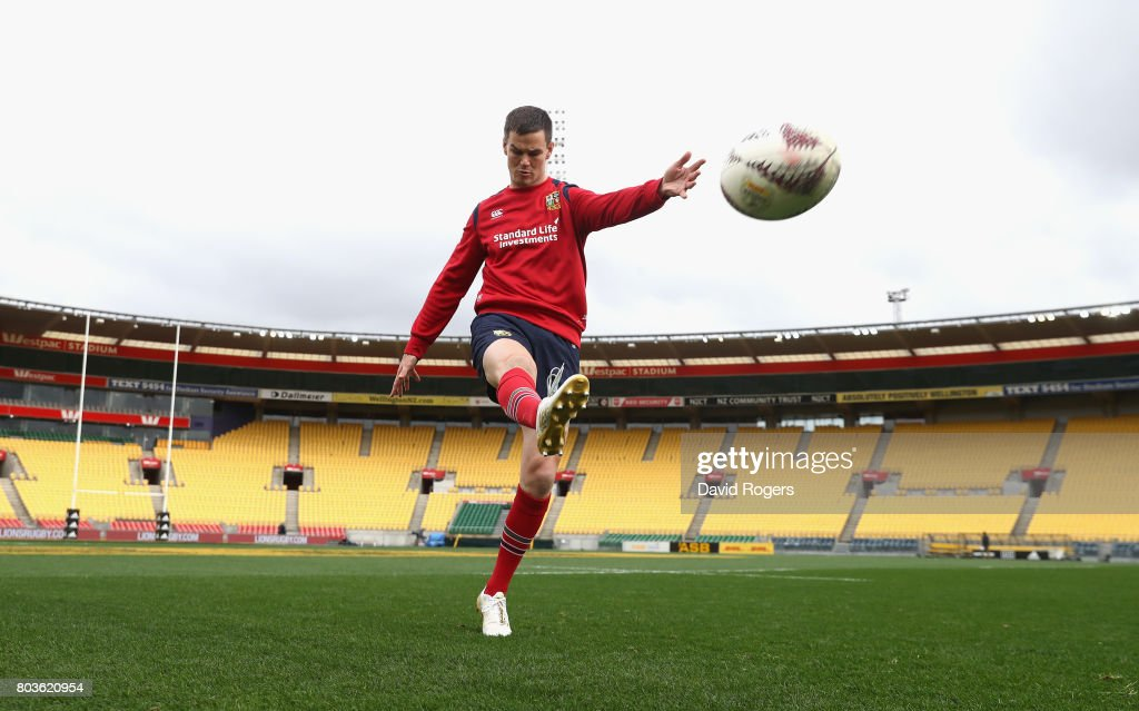 Jonathan Sexton kicks the ball to touch during the British & Irish Lions kicking session at Westpac Stadium on June 30, 2017 in Wellington, New Zealand.