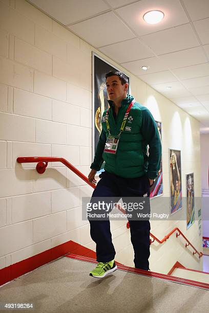Jonathan Sexton of Ireland arrives prior to the 2015 Rugby World Cup Quarter Final match between Ireland and Argentina at the Millennium Stadium on...