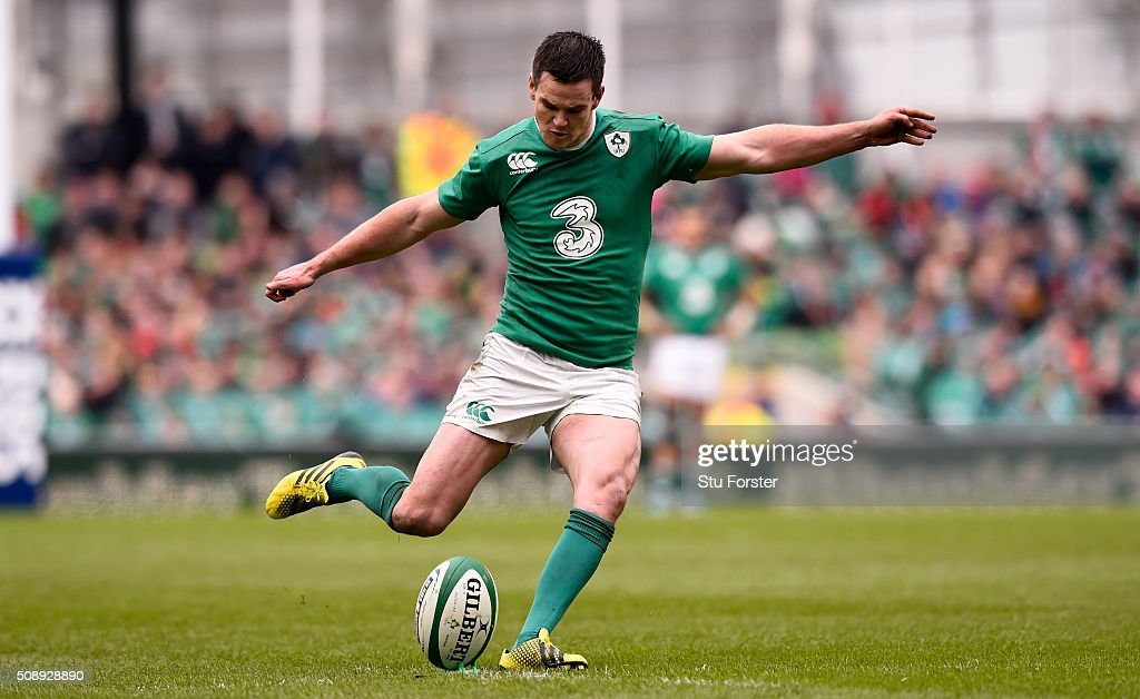 Jonathan Sexton of Ireland in action during the RBS Six Nations match between Ireland and Wales at the Aviva Stadium at Aviva Stadium on February 7, 2016 in Dublin, Ireland.