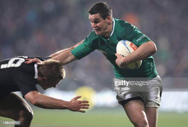 Jonathan Sexton of Ireland is tackled by Sam Cane of the All Blacks during the International Test Match between New Zealand and Ireland at AMI...