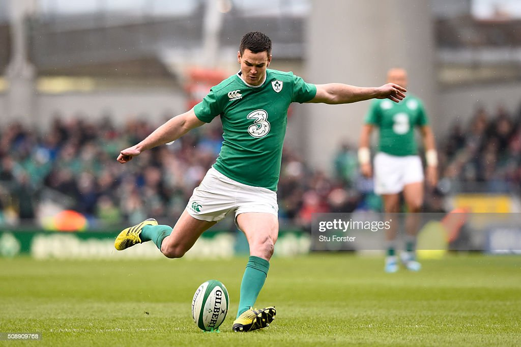 Jonathan Sexton of Ireland kicks a penalty during the RBS Six Nations match between Ireland and Wales at the Aviva Stadium on February 7, 2016 in Dublin, Ireland.