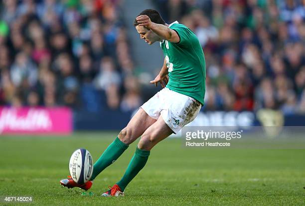 Jonathan Sexton of Ireland kicks a penalty to put Ireland 23 points ahead of Scotland on 1033 during the RBS Six Nations match between Scotland and...