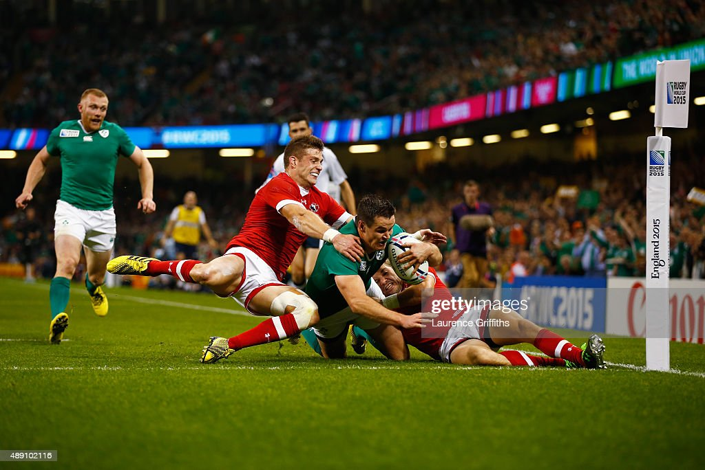 Jonathan Sexton of Ireland scores his teams third try during the 2015 Rugby World Cup Pool D match between Ireland and Canada at the Millennium Stadium on September 19, 2015 in Cardiff, United Kingdom.