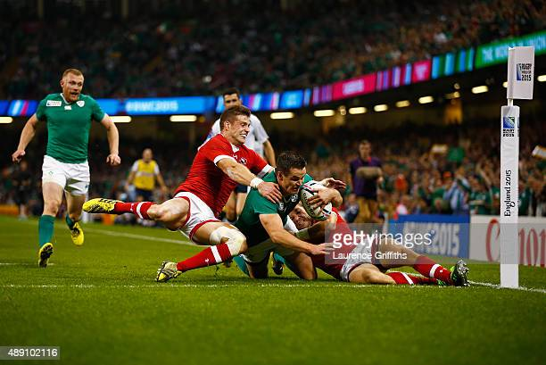 Jonathan Sexton of Ireland scores his teams third try during the 2015 Rugby World Cup Pool D match between Ireland and Canada at the Millennium...