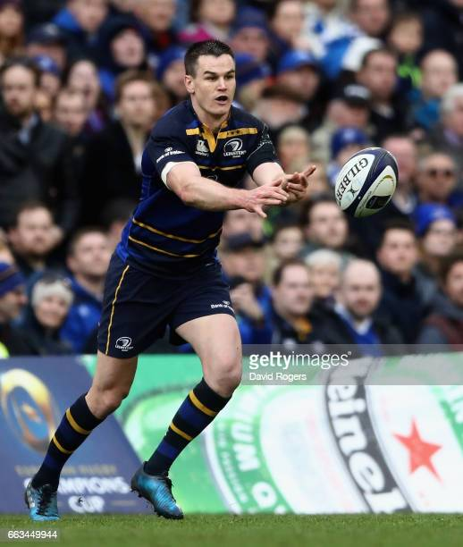 Jonathan Sexton of Leinster passes the ball during the European Rugby Champions Cup match between Leinster and Wasps at the Aviva Stadium on April 1...