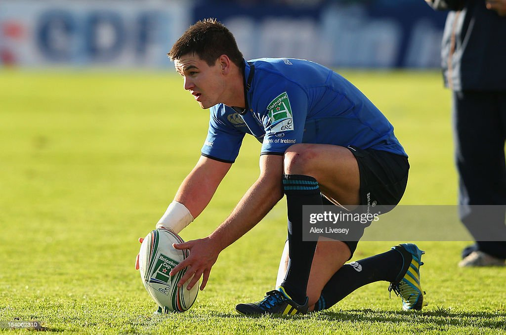 Jonathan Sexton of Leinster places the ball for a penalty kick during the Heineken Cup Pool 5 match between Leinster and Exeter Chiefs at Royal Dublin Society on October 13, 2012 in Dublin, Ireland.