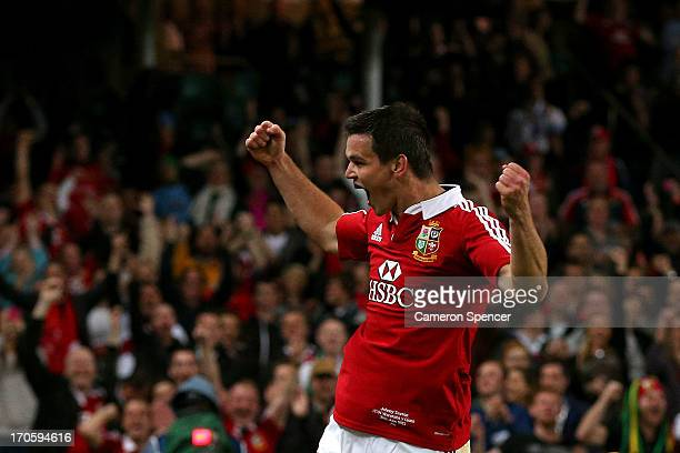 Jonathan Sexton of the Lions celebrates scoring a try during the match between the Waratahs and the British Irish Lions at Allianz Stadium on June 15...