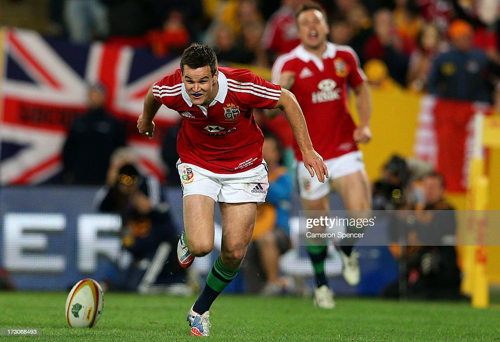 Jonathan Sexton of the Lions celebrates scoring a try during the International Test match between the Australian Wallabies and British & Irish Lions at ANZ Stadium on July 6, 2013 in Sydney, Australia.