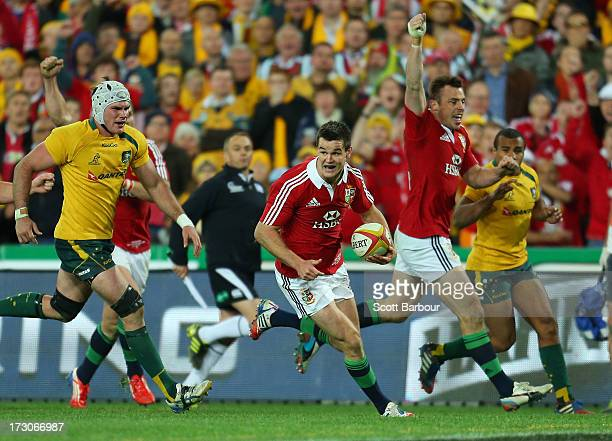 Jonathan Sexton of the Lions scores a try during the International Test match between the Australian Wallabies and British Irish Lions at ANZ Stadium...