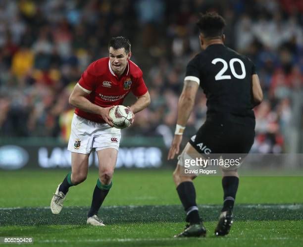 Jonathan Sexton of the Lions takes on Ardie Savea during the match between the New Zealand All Blacks and the British Irish Lions at Westpac Stadium...
