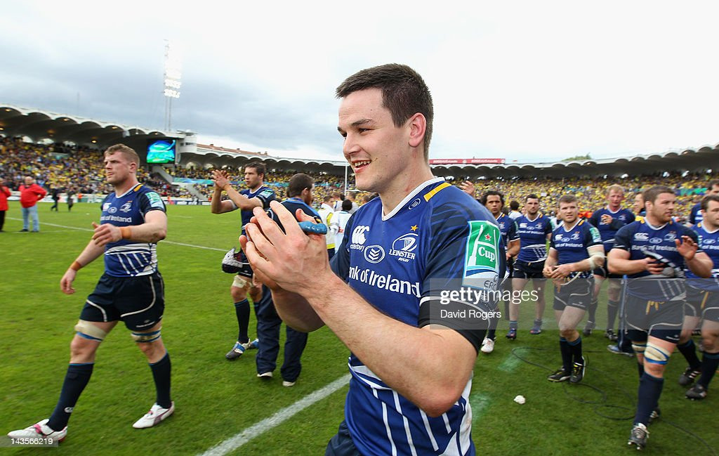 Jonathan Sexton, the Leinster standoff celebrates his team victory during the Heineken Cup semi final match between ASM Clermont Auvergne and Leinster at Stade Chaban-Delmas on April 29, 2012 in Bordeaux, France.