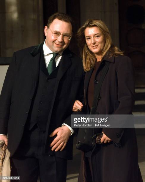 Jonathan Shalit and his friend Sally Kershaw leave the High Court London following the settling of his multimillion pound dispute against singer...