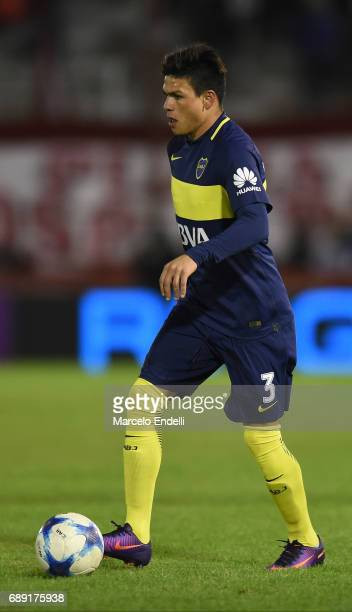 Jonathan Silva of Boca Juniors drives the ball during a match between Huracan and Boca Juniors as part of Torneo Primera Division 2016/17 at Tomas...