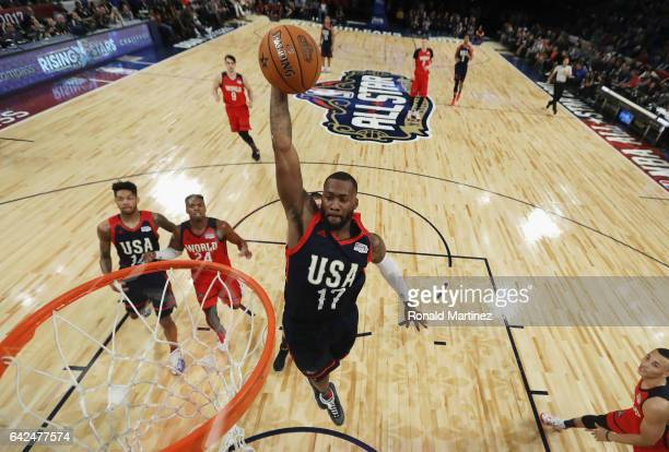 Jonathan Simmons of the San Antonio Spurs dunks the ball in the first half against the World Team during the 2017 BBVA Compass Rising Stars Challenge...