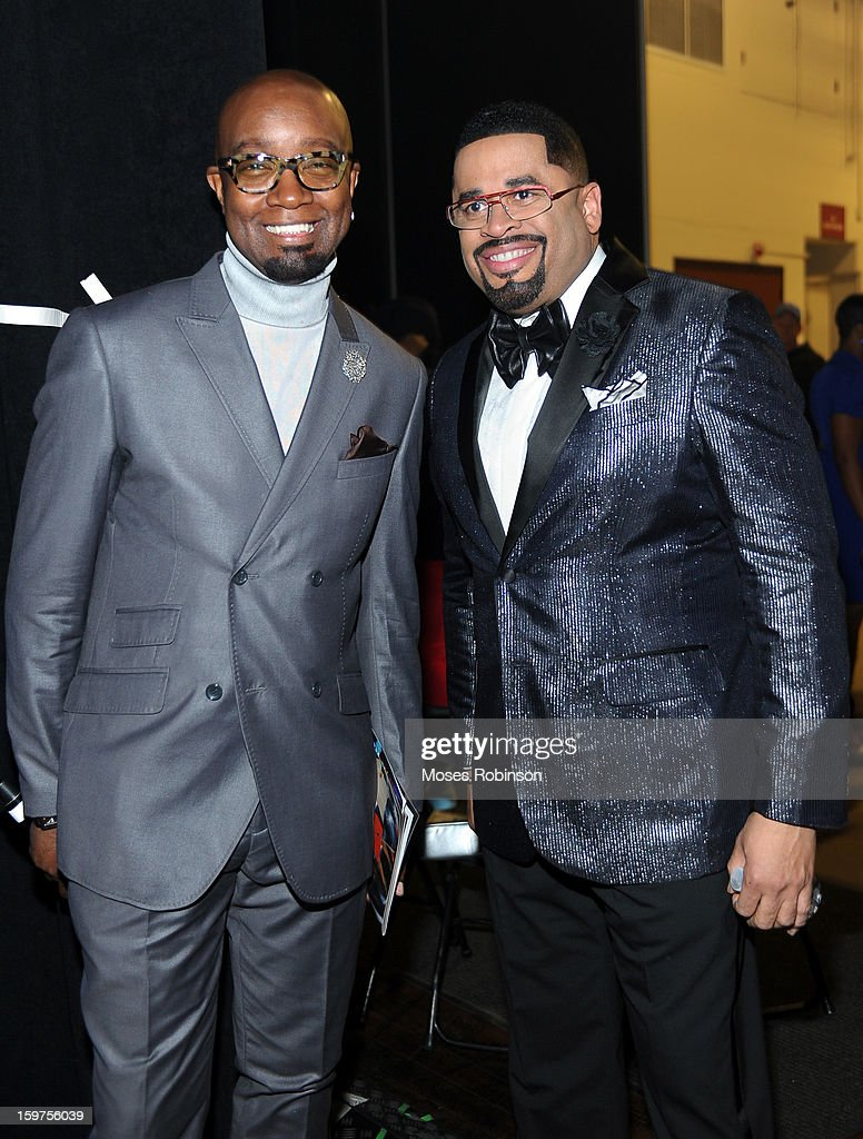 Jonathan Slocomb and Byron Cage attend the 28th Annual Stellar Awards Backstage at Grand Ole Opry House on January 19, 2013 in Nashville, Tennessee.