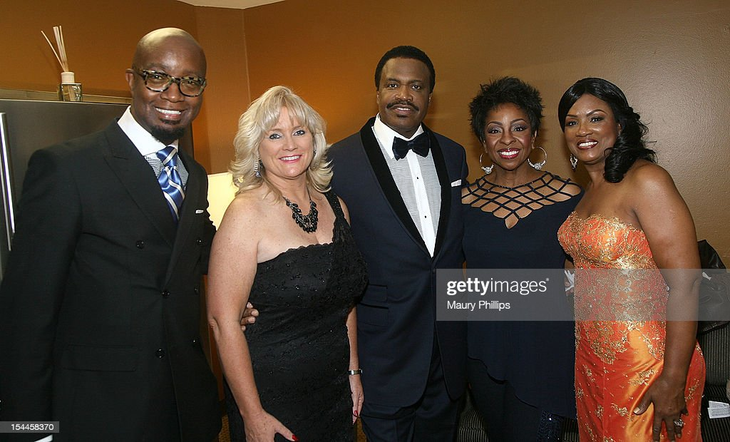 Johnathan Slocumb, president/CEO of Habitat Erin Rank, Bishop Kenneth C. Ulmer, singer Gladys Knight and Togetta Ulmer attend the Faithful Central Bible Church Event on October 19, 2012 in Century City, California.