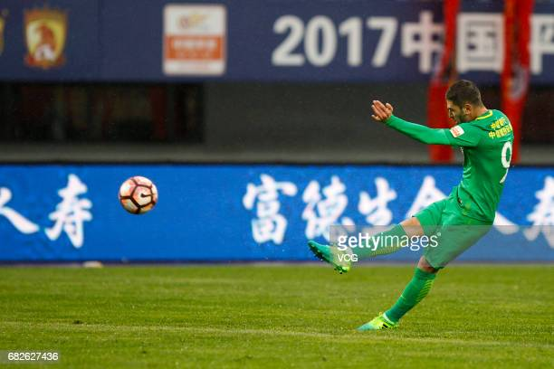 Jonathan Soriano of Beijing Guoan dribbles during the 9th round match of 2017 Chinese Football Association Super League between Yanbian Fude and...