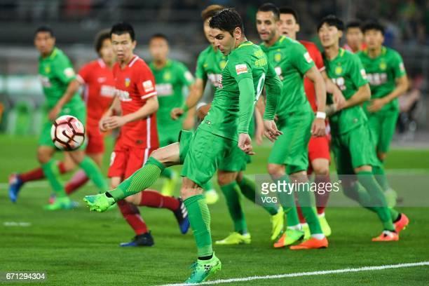 Jonathan Soriano of Beijing Guoan handles the ball during the 6th round match of China Super League between Beijing Guoan and Tianjin Quanjian at...