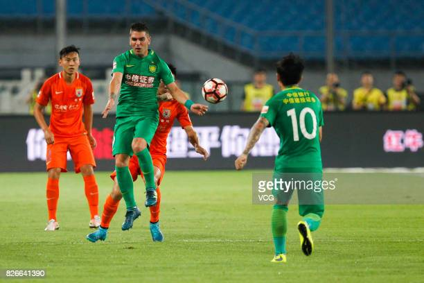 Jonathan Soriano of Beijing Guoan reacts during the 20th round match of 2017 Chinese Football Association Super League between Beijing Guoan and...