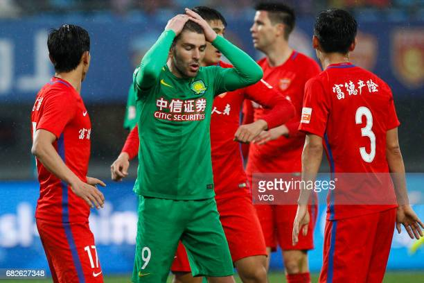 Jonathan Soriano of Beijing Guoan reacts during the 9th round match of 2017 Chinese Football Association Super League between Yanbian Fude and...