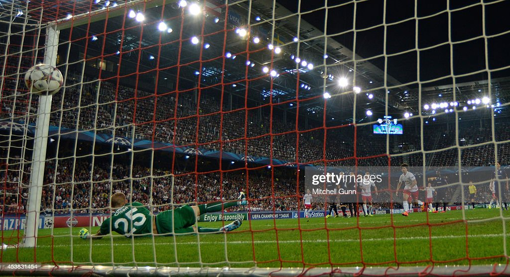 Jonathan Soriano of FC Salzburg scores a goal during the UEFA Champions League qualifying play-off at the Red Bull Arena on August 19, 2014 in Salzburg, Austria.