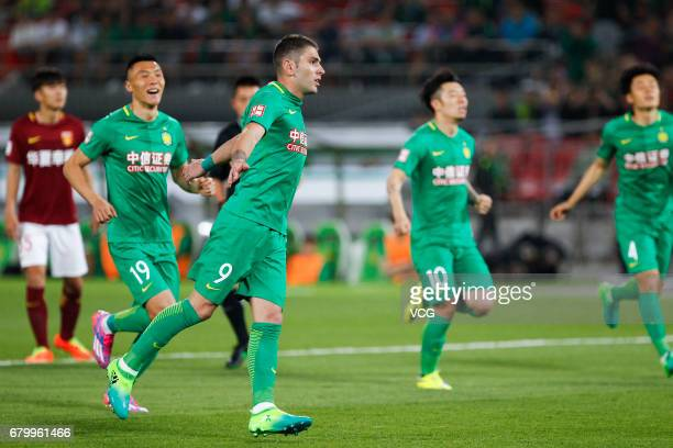 Jonathan Soriano of Hebei CFFC celebrates after a goal during 2017 Chinese Football Association Super League 8th round match between Beijing Sinobo...