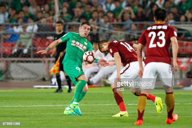 Jonathan Soriano of Hebei CFFC shoots during 2017 Chinese Football Association Super League 8th round match between Beijing Sinobo Guoan FC and Hebei...