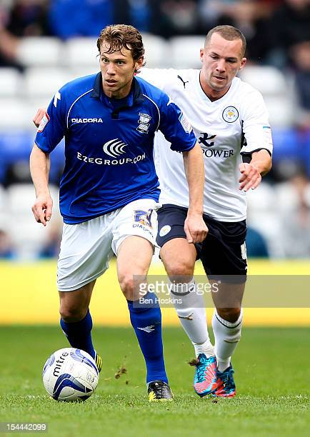 Jonathan Spector of Birmingham holds off pressure from Danny Drinkwater of Leicester during the npower Championship match between Birmingham City and...