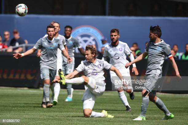 Jonathan Spector of Orlando City SC in action during the New York City FC Vs Orlando City SC regular season MLS game at Yankee Stadium on April 23...