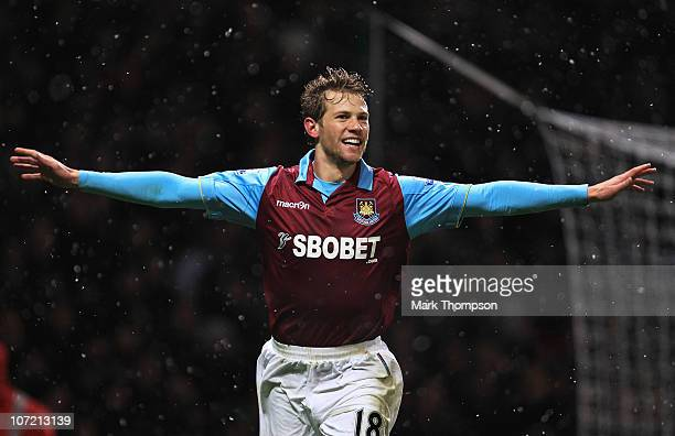 Jonathan Spector of West Ham United celebrates his second goal during the Carling Cup Quarter Final match between West Ham United and Manchester...