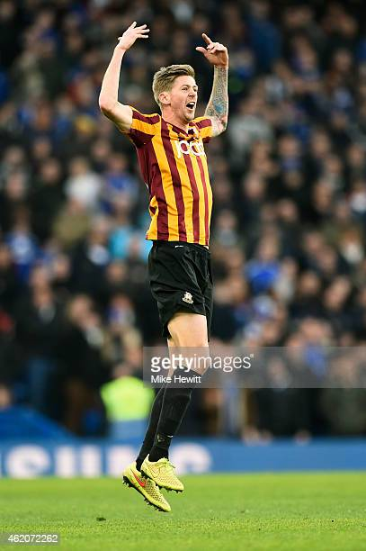 Jonathan Stead of Bradford City celebrates after scoring his team's first goal during the FA Cup Fourth Round match between Chelsea and Bradford City...