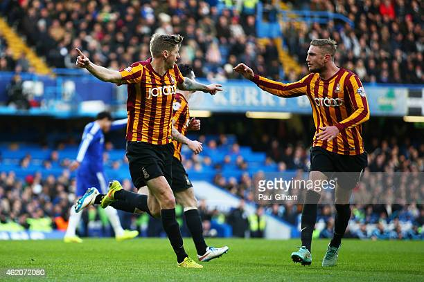 Jonathan Stead of Bradford City celerates after scoring his team's first goal during the FA Cup Fourth Round match between Chelsea and Bradford City...