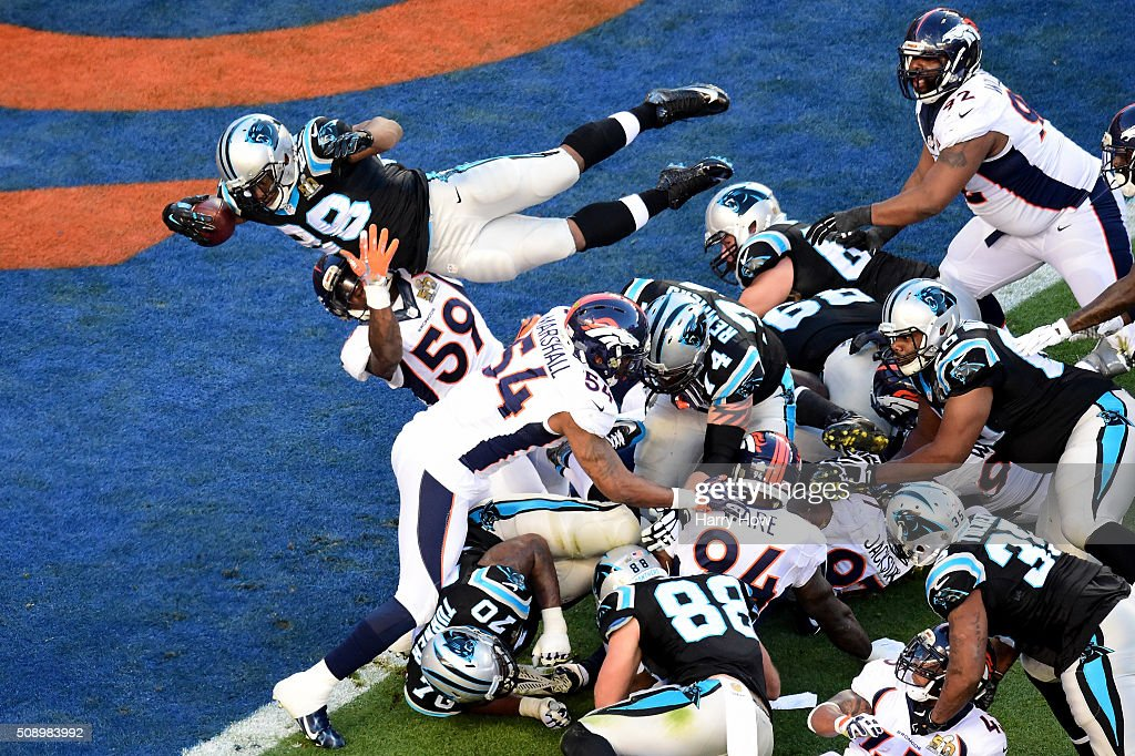 Jonathan Stewart of the Carolina Panthers dives for a 1yard touchdown during the second quarter of Super Bowl 50 against the Denver Broncos at Levi's...