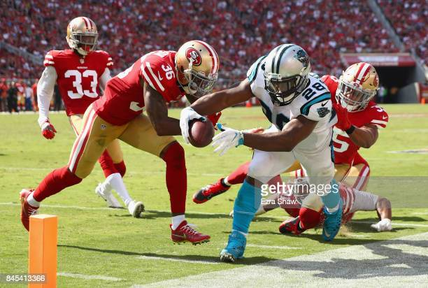 Jonathan Stewart of the Carolina Panthers is forced out of bounds by San Francisco 49ers at Levi's Stadium on September 10 2017 in Santa Clara...