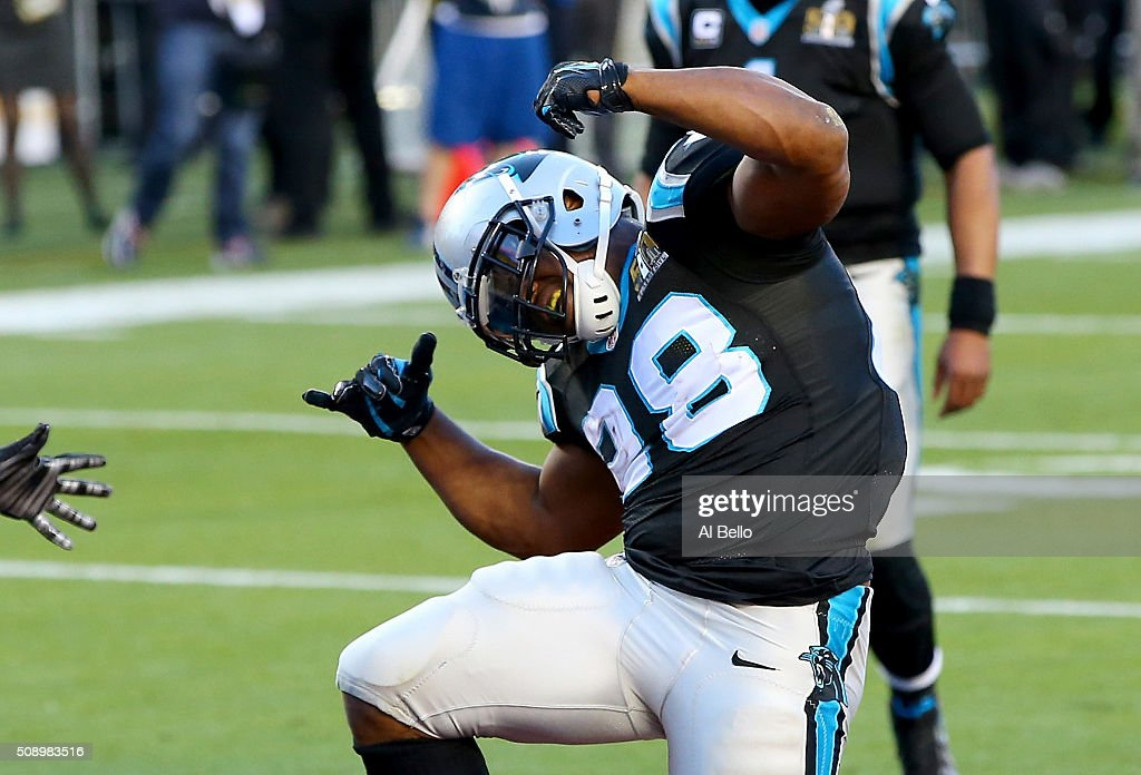 Jonathan Stewart of the Carolina Panthers reacts after scoring a touchdown against the Denver Broncos in the second quarter during Super Bowl 50 at...