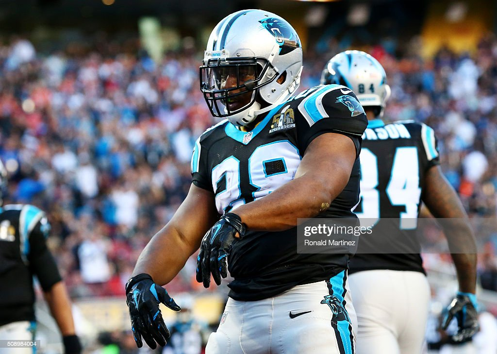 Jonathan Stewart #28 of the Carolina Panthers reacts after scoring a touchdown against the Denver Broncos in the second quarter during Super Bowl 50 at Levi's Stadium on February 7, 2016 in Santa Clara, California.