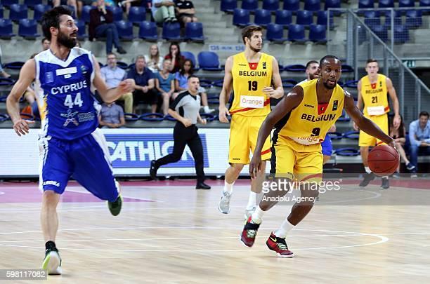 Jonathan Tabu of Belgium in action against Iakovos Panteli of Greek Cypriot team during Eurobasket 2017 Qualification Match between Belgian...