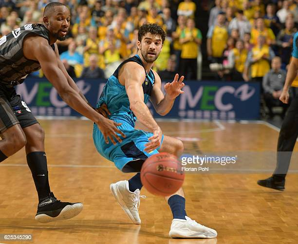 Jonathan Tabu of RETABet Bilbao Basket and Engin Atsuer of Alba Berlin during the game between Alba Berlin and RETABet Bilbao Basket on november 23...