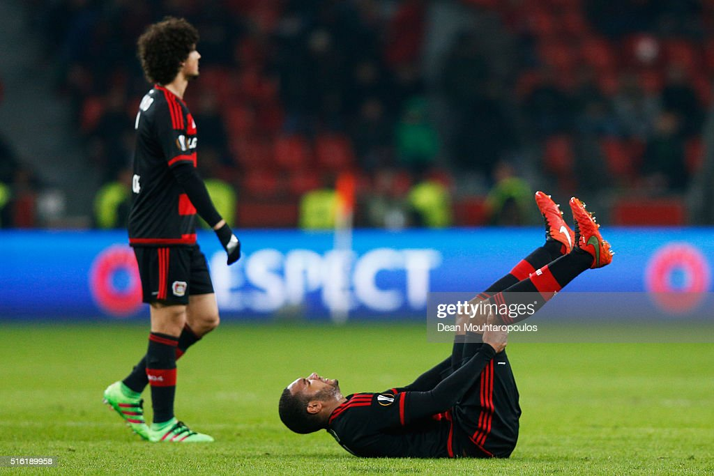 Jonathan Tah (R) and Andre Ramalho of Bayer Leverkusen (L) look dejected as they lose 2-0 on aggregate after the UEFA Europa League round of 16, second leg match between Bayer Leverkusen and Villarreal CF at Bay Arena on March 17, 2016 in Leverkusen, Germany.