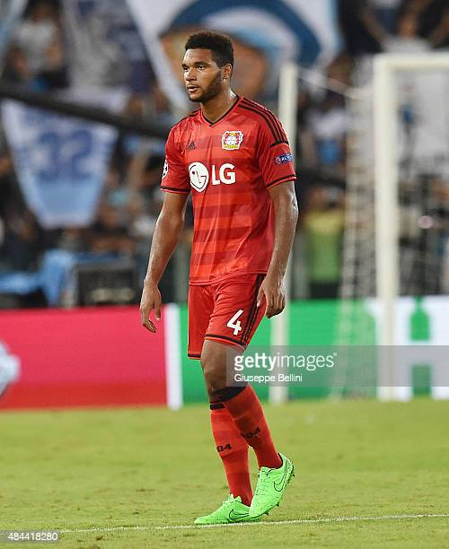Jonathan Tah of Bayer Leverkusen after the UEFA Champions League qualifying round play off first leg match between SS Lazio and Bayer Leverkusen at...
