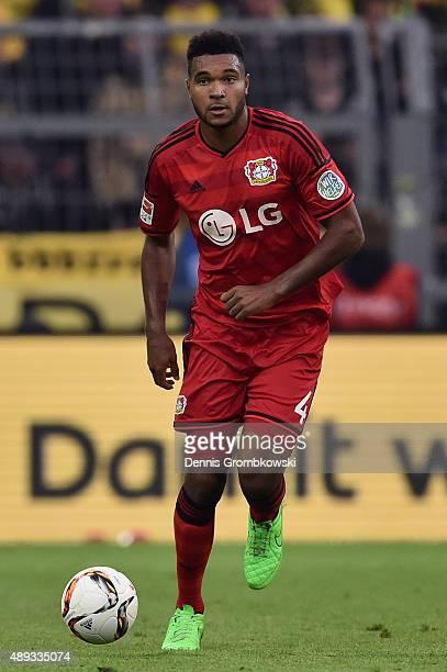 Jonathan Tah of Bayer Leverkusen controls the ball during the Bundesliga match between Borussia Dortmund and Bayer Leverkusen at Signal Iduna Park on...