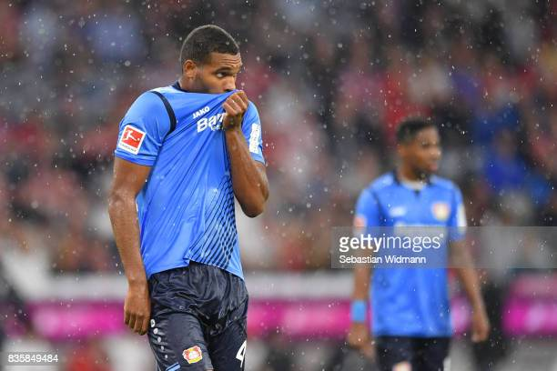 Jonathan Tah of Bayer Leverkusen gestures during the Bundesliga match between FC Bayern Muenchen and Bayer 04 Leverkusen at Allianz Arena on August...